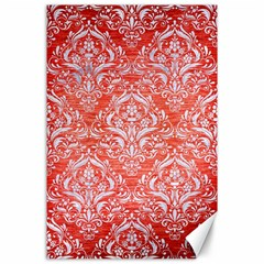 Damask1 White Marble & Red Brushed Metal Canvas 24  X 36