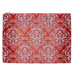 Damask1 White Marble & Red Brushed Metal Cosmetic Bag (xxl)  by trendistuff