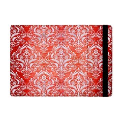 Damask1 White Marble & Red Brushed Metal Apple Ipad Mini Flip Case by trendistuff