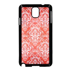 Damask1 White Marble & Red Brushed Metal Samsung Galaxy Note 3 Neo Hardshell Case (black) by trendistuff