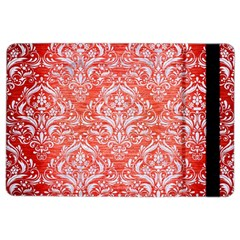 Damask1 White Marble & Red Brushed Metal Ipad Air 2 Flip by trendistuff