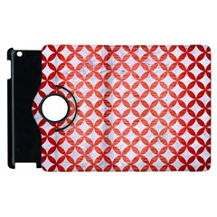Circles3 White Marble & Red Brushed Metal (r) Apple Ipad 3/4 Flip 360 Case by trendistuff