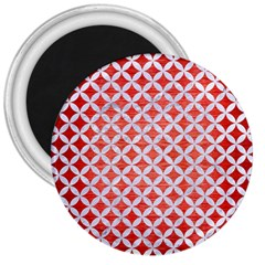 Circles3 White Marble & Red Brushed Metal 3  Magnets by trendistuff