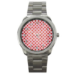 Circles3 White Marble & Red Brushed Metal Sport Metal Watch by trendistuff