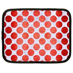 Circles2 White Marble & Red Brushed Metal (r) Netbook Case (xl)  by trendistuff