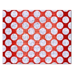 Circles2 White Marble & Red Brushed Metal Rectangular Jigsaw Puzzl by trendistuff