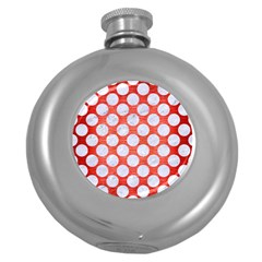 Circles2 White Marble & Red Brushed Metal Round Hip Flask (5 Oz) by trendistuff