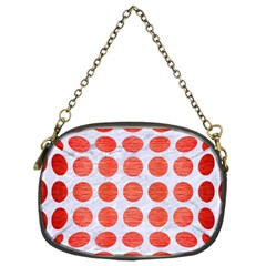 Circles1 White Marble & Red Brushed Metal (r) Chain Purses (two Sides)  by trendistuff