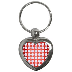 Circles1 White Marble & Red Brushed Metal Key Chains (heart)  by trendistuff