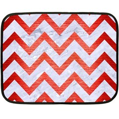 Chevron9 White Marble & Red Brushed Metal (r) Double Sided Fleece Blanket (mini)  by trendistuff