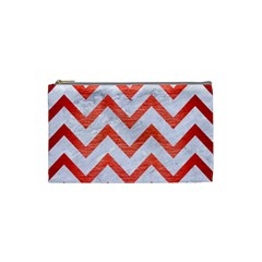 Chevron9 White Marble & Red Brushed Metal (r) Cosmetic Bag (small)  by trendistuff
