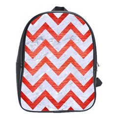 Chevron9 White Marble & Red Brushed Metal (r) School Bag (large) by trendistuff