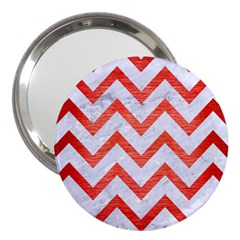 Chevron9 White Marble & Red Brushed Metal (r) 3  Handbag Mirrors by trendistuff