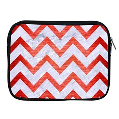 Chevron9 White Marble & Red Brushed Metal (r) Apple Ipad 2/3/4 Zipper Cases by trendistuff
