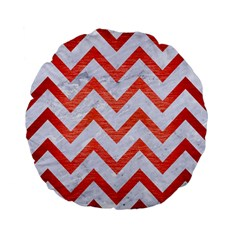 Chevron9 White Marble & Red Brushed Metal (r) Standard 15  Premium Flano Round Cushions by trendistuff