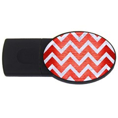 Chevron9 White Marble & Red Brushed Metal Usb Flash Drive Oval (2 Gb) by trendistuff