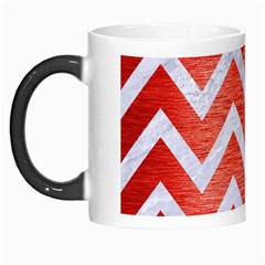 Chevron9 White Marble & Red Brushed Metal Morph Mugs by trendistuff