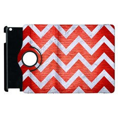 Chevron9 White Marble & Red Brushed Metal Apple Ipad 3/4 Flip 360 Case by trendistuff