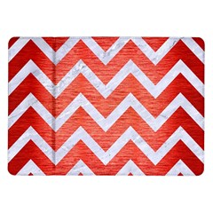 Chevron9 White Marble & Red Brushed Metal Samsung Galaxy Tab 10 1  P7500 Flip Case by trendistuff