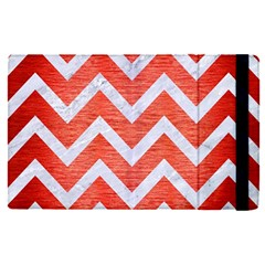 Chevron9 White Marble & Red Brushed Metal Apple Ipad Pro 9 7   Flip Case by trendistuff