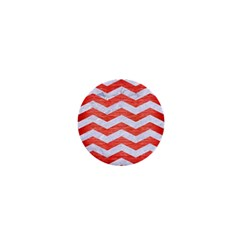 Chevron3 White Marble & Red Brushed Metal 1  Mini Magnets by trendistuff