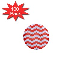 Chevron3 White Marble & Red Brushed Metal 1  Mini Magnets (100 Pack)  by trendistuff
