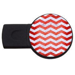 Chevron3 White Marble & Red Brushed Metal Usb Flash Drive Round (4 Gb) by trendistuff