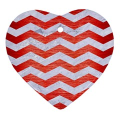 Chevron3 White Marble & Red Brushed Metal Heart Ornament (two Sides) by trendistuff