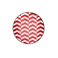 Chevron2 White Marble & Red Brushed Metal Hat Clip Ball Marker (10 Pack) by trendistuff