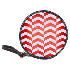 Chevron2 White Marble & Red Brushed Metal Classic 20 Cd Wallets by trendistuff