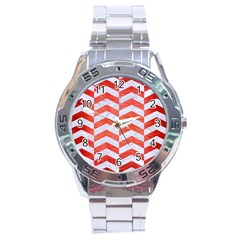 Chevron2 White Marble & Red Brushed Metal Stainless Steel Analogue Watch by trendistuff