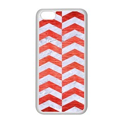 Chevron2 White Marble & Red Brushed Metal Apple Iphone 5c Seamless Case (white)