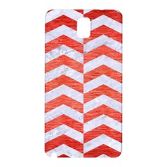 Chevron2 White Marble & Red Brushed Metal Samsung Galaxy Note 3 N9005 Hardshell Back Case