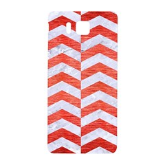 Chevron2 White Marble & Red Brushed Metal Samsung Galaxy Alpha Hardshell Back Case by trendistuff