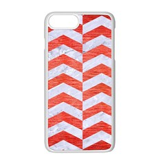 Chevron2 White Marble & Red Brushed Metal Apple Iphone 8 Plus Seamless Case (white) by trendistuff