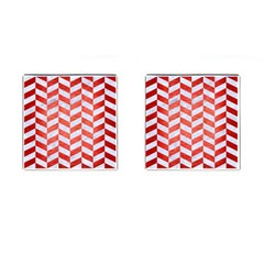 Chevron1 White Marble & Red Brushed Metal Cufflinks (square) by trendistuff