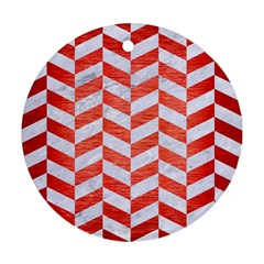 Chevron1 White Marble & Red Brushed Metal Round Ornament (two Sides) by trendistuff