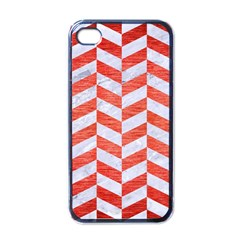 Chevron1 White Marble & Red Brushed Metal Apple Iphone 4 Case (black) by trendistuff