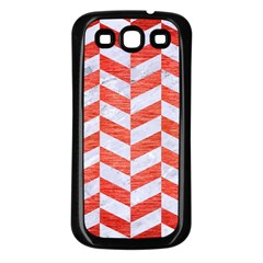 Chevron1 White Marble & Red Brushed Metal Samsung Galaxy S3 Back Case (black) by trendistuff