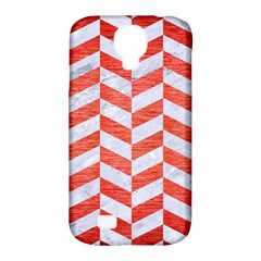 Chevron1 White Marble & Red Brushed Metal Samsung Galaxy S4 Classic Hardshell Case (pc+silicone) by trendistuff