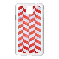 Chevron1 White Marble & Red Brushed Metal Samsung Galaxy Note 3 N9005 Case (white) by trendistuff