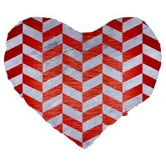 Chevron1 White Marble & Red Brushed Metal Large 19  Premium Flano Heart Shape Cushions by trendistuff