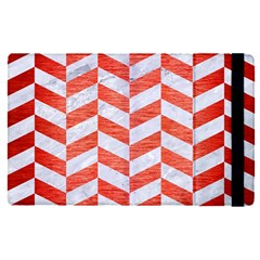 Chevron1 White Marble & Red Brushed Metal Apple Ipad Pro 9 7   Flip Case by trendistuff