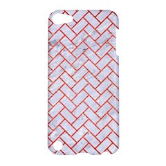 Brick2 White Marble & Red Brushed Metal (r) Apple Ipod Touch 5 Hardshell Case by trendistuff