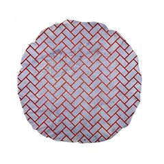 Brick2 White Marble & Red Brushed Metal (r) Standard 15  Premium Flano Round Cushions by trendistuff