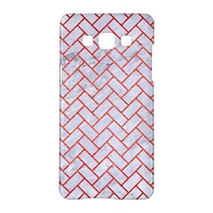 Brick2 White Marble & Red Brushed Metal (r) Samsung Galaxy A5 Hardshell Case  by trendistuff