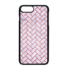 Brick2 White Marble & Red Brushed Metal (r) Apple Iphone 8 Plus Seamless Case (black)