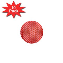 Brick2 White Marble & Red Brushed Metal 1  Mini Magnet (10 Pack)  by trendistuff