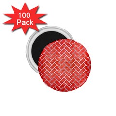 Brick2 White Marble & Red Brushed Metal 1 75  Magnets (100 Pack)