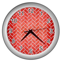 Brick2 White Marble & Red Brushed Metal Wall Clocks (silver)  by trendistuff